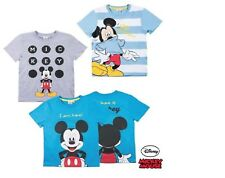 Disney Mickey Mouse T Shirt Short Sleeve Top Boys Grey Blue Ages 2 3 4 5 6 7 8