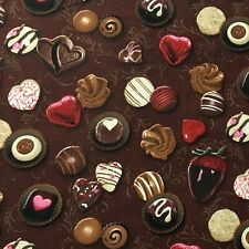 Chocolate Candy Strawberry Dessert Food Apparel Sewing Quilting Fabric Fq