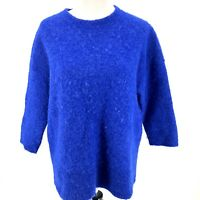 J.CREW Womens Small Blue Sweater Alpaca Merino Wool Textured Slouchy