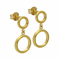 9ct Gold Double Circle Stud Drop Earrings