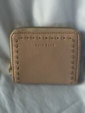 New COLE HAAN Leather Zip Small Wallet Nude Ivy Pic-Stitch Collection $120