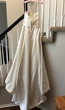 Wedding Gown Bridal Dress Ivory Satin Crystals Beads Strapless size 10 Tall