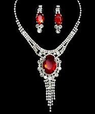 Red Rhinestonel Pendant Women Necklace Silver Plated w Extender Chain New