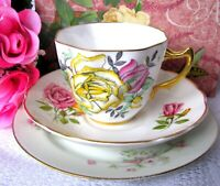 Mismatch Yellow and Pink Roses Teacup and Saucer and Dessert Plate Trio
