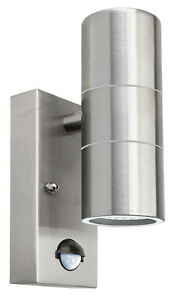 PIR Stainless Steel Up Down Outdoor Wall Light With Movement Sensor ZLC0204 IP44
