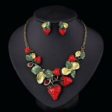 Womens Crystal Strawberry Pendant Choker Collares Necklace Earrings Jewelry Set