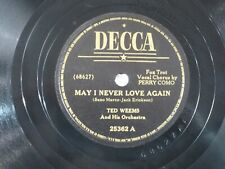 US 78 upm Ted Weems: May I never love again / It all comes back ..., Decca 25362