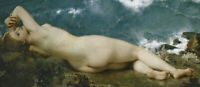 LMOP1335  100% handmade-painted naked girl by the sea oil painting art on canvas