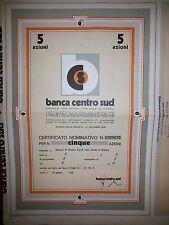 BANCA CENTRO SUD  Certificato da 5 Azioni 1981