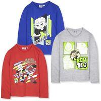 Ben 10 ten Boys Long Sleeve Top T-Shirt 2-8 Years Brand Character 100% Cotton