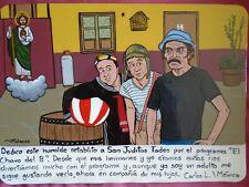 Ex-voto with Mexican classic tv show El Chavo del 8 Chespirito handmade retablo