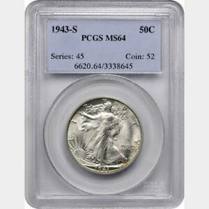 1943-S Walking Liberty Half PCGS MS-64 - WHITE and Original - rzx