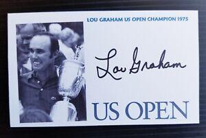 """THE US OPEN"" CHAMPIONSHIP LOU GRAHAM AUTOGRAPHED 3X5 INDEX CARD"