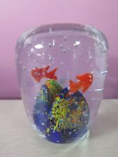 VINTAGE LARGE GLASS PAPERWEIGHT FISH OYSTER SHELL BUBBLES 2 LBS