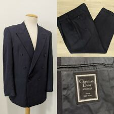 Vintage 1980's Christian Dior Men's Two-Piece Double-Breasted Wool Suit Retro