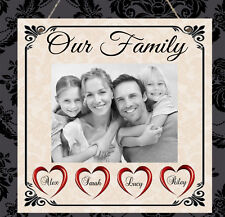 Personalised Photo Plaque Our Family Hearts Gift Sign Present Nanny Mum Dad