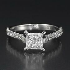 1 CT GENUINE DIAMOND ENGAGEMENT RING PRINCESS CUT D/VS1 14K WHITE GOLD ENHANCED