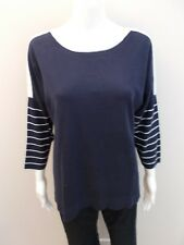 "SPORTSCRAFT NAVY /WHITE CASHMERE BLEND ""TILLY STRIPE KNIT"" SIZE MED=10/12 (#C589"