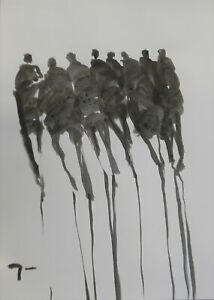 """Jose Trujillo 18x24"""" Ink Wash Painting Abstract Figures Modern Contemporary Art"""