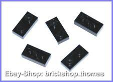 Lego 5 x Platte (1x2) Platten - 3023 schwarz - Black Plate Plates - NEU / NEW
