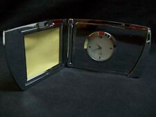QVC 20 Years Folding Chrome Desk Clock with Picture Frame