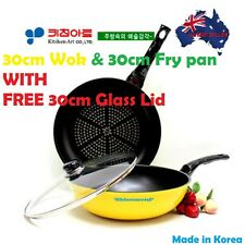 Ceramic& Diamond  Non Stick Coating 30CM Wok& Frypan set +FREE GLASS LID Korea