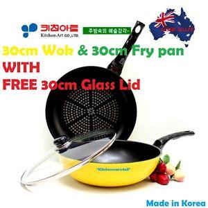 Ceramic& Diamond  Non Stick Coating 30CM Wok& Frypan set +FREE GLASS LID Korea