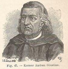 B1867 Justinus Andreas Kerner - Incisione antica del 1928 - Engraving