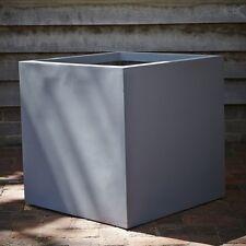 30cm Grey Fibrestone Contemporary Box Planter/Square Garden Pot/Cube Container