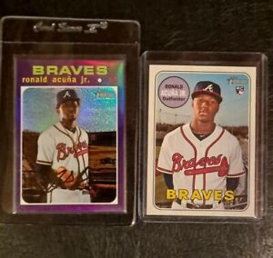 2018 Topps Heritage #580 rookie + 2020 Chrome Purple Refractor Ronald Acuna Jr.