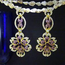 Antique 18K Gold Plated Purple Cassius Crystal Water Drop Elegant Drop Earring