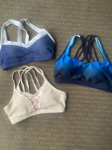 3 X Lorna Jane High support Sports Bras: Blue, Pink, Blue And White. Size Medium