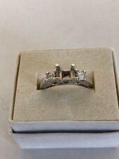 3-STONE DIAMOND ENGAGEMENT RING SEMI-MOUNT PRINCESS CUT 18k WHITE GOLD.43 ct.VS