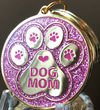 Dog Mom Keychain Pink Glitter Pawprint Heart Design Gold Plated A True Friend