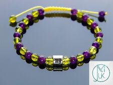 Virgo Peridot/Amethyst Birthstone Bracelet 7-8'' Macrame Healing Stone Chakra
