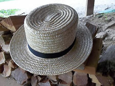 "BRAND NEW Pennsylvania  AMISH MADE STRAW HAT SIZE - 7  1/4""  with 2 1/2"" brim"