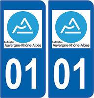 Département 01 sticker 2 autocollants style immatriculation AUTO PLAQUE AIN