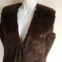 Mossimo Women's Medium Faux Fur Vest Size Medium Brown Tie Front