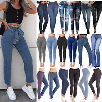 Women's High Waisted Skinny Stretchy Pencil Denim Jeans Jeggings Trousers Pants