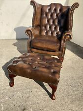Leather Chesterfield Wingback Chair, Armchair With Footstool