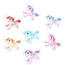 10 pretty unicorn wooden buttons. Random mix of colour. 33 x 28mm