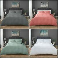 Stripe Waffle Duvet Quilt Cover & Pillowcases - Luxury Bedding Set - All Sizes