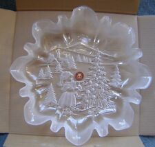 "LARGE ORIGINAL WALTHERGLAS CHRISTMAS SCENE SERVING PLATE/DISH 13 1/4"" NEW IN BOX"
