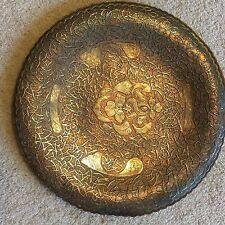 Antico Vintage intarsiati D'ARGENTO SU RAME pagano Medio Oriente islamico piatto di pesce