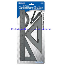 BAZIC 4-Piece Geometry Ruler Combination Sets with Compass for Math #332