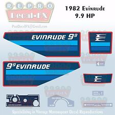 1982 Evinrude 9.9 HP Outboard Reproduction 9 Pc Marine Vinyl Decals Nine Nine