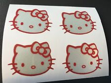 STICKER HELLO KITTY REFLECTIVE MOTORCYCLE HELMET SCOOTER POLY FAIRING grey/red