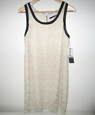 KENSIE DRESS Size MEDIUM M Ivory Lace w/ Black Faux Leather Trims Sundress NWT