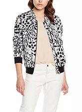 Leopardo Stampa Bomber Nuovo Look Giacca Cappotto PARTY 10 animali bianco nero rosa