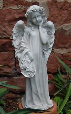 Engel antikweiß stehend mit Blumenkorb Garten Figur Grab Dekoration Neu